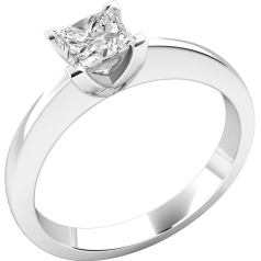 Single Stone Engagement Ring for Women in 18ct White Gold with a Princess Cut Diamond in a 4-claw Setting