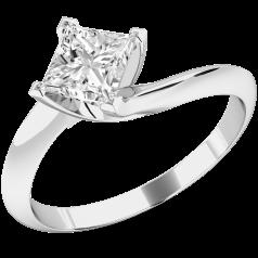 Solitär Verlobungsring für Dame in 9kt Weißgold mit einem Princess Schliff Diamanten in 4er Krappenfassung, Twist Ring