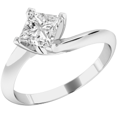 Inel de Logodna Solitaire Dama Aur Alb 18kt cu un Diamant Princess In Setare cu 4 Gheare, Inel Twist