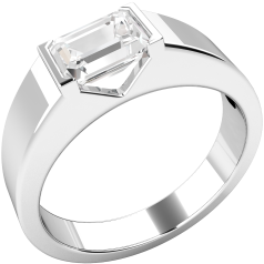 Single Stone Engagement Ring for Women in Platinum with an Emerald Cut Diamond in a Rub-over Setting and a Wide Band