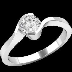 Solitär Verlobungsring für Dame in 9kt Weißgold mit einem runden Diamanten in Semi-Zargenfassung