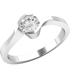 Single Stone Twist Engagement Ring for Women in 18ct White Gold with a Round Diamond in a Part Rub-over Setting