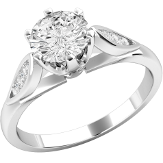 Single Stone Engagement Ring With Shoulders for Women in 18ct White Gold with a Round Diamond in the Centre and Round Diamonds in the Shoulders