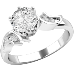 Single Stone Twist Engagement Ring With Shoulders for Women in 9ct White Gold with a Round Diamond in the Centre and Round Diamonds in the Shoulders