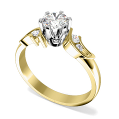 Single Stone Twist Engagement Ring With Shoulders for Women in 18ct Yellow and White Gold with a Round Diamond in the Centre and Round Diamonds in the Shoulders