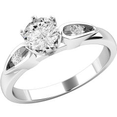 Single Stone Engagement Ring With Shoulders for Women in 18ct White Gold with a Round Diamond in the Centre and one Diamond on either side