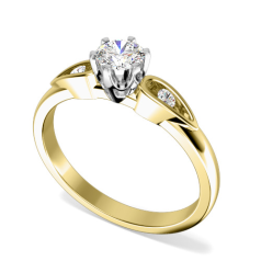 Single Stone Engagement Ring With Shoulders for Women in 18ct Yellow and White Gold with a Round Diamond in the Centre and one Diamond on either side
