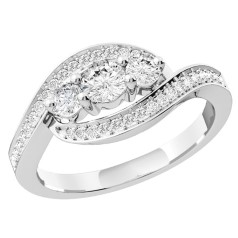 Three Stone Ring with Shoulders/Multi Stone Engagement Ring for women in 18ct white gold with round diamonds