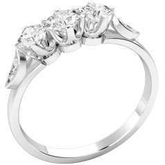 Drei-Steine Ring/Verlobungsring für Dame in 18kt Weißgold mit 3 runden Diamanten in der Mitte und 2 kleinen Diamanten auf jeder Seite