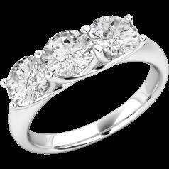 Drei-Steine Ring/Verlobungsring für Dame in Platin mit 3 runden Brillantschliff Diamanten in Krappenfassung