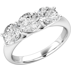 Three Stone Ring/Engagement Ring for women in 18ct white gold with three round diamonds in a claw-setting