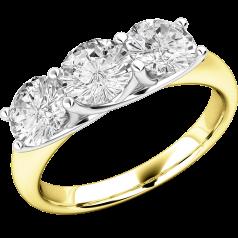 Drei-Steine Ring/Verlobungsring für Dame in 18kt Gelbgold und Weißgold mit 3 runden Brillantschliff Diamanten in Krappenfassung