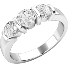 Three Stone Ring/Engagement Ring for women in platinum with 3 round brilliant cut diamonds in a bar setting