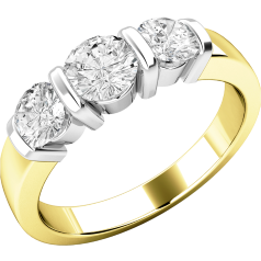 Three Stone Ring/Engagement Ring for women in 18ct yellow and white gold with 3 round brilliant cut diamonds in a bar setting