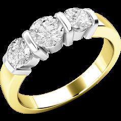 Drei-Steine Ring/Verlobungsring für Dame in 18kt Gelbgold und Weißgold mit 3 runden Brillant Schliff Diamanten in Balkenfassung