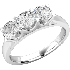 Three Stone Ring/Engagement Ring for women in 18ct white gold with 3 round diamonds in a claw-setting
