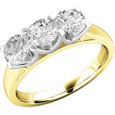 Three Stone Ring/Engagement Ring for women in 18ct yellow and white gold with 3 round diamonds in a claw-setting