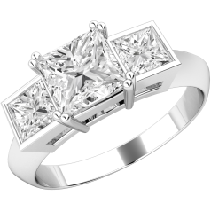 Three Stone Ring for women in platinum with 3 princess cut diamonds in claw & rub-over setting