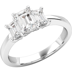 Three Stone Ring/Engagement Ring for women in 18ct white gold with 3 emerald cut diamonds