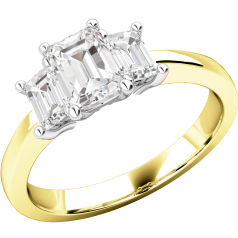 Three Stone Ring/Engagement Ring for women in 18ct yellow and white gold with 3 emerald cut diamonds