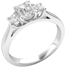 Three Stone Ring/Engagement Ring for women in 18ct white gold with an emerald cut centre & two round diamonds