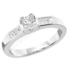 Single Stone Engagement Ring With Shoulders/Multi Stone Engagement Ring for Women in Platinum with Princess Cut Diamonds