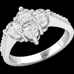 RD396PL - Inel din platină cu 4 diamante rotunde de dimensiuni egale şi diamante mici pe lateral