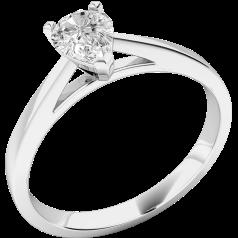Solitär Verlobungsring für Dame in 18kt Weißgold mit einem Tropfen-Schliff Diamanten