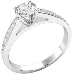 Single Stone Engagement Ring With Shoulders for Women in 18ct White Gold with a Round Brilliant Cut Centre Diamond and Round Brilliant Cut Diamond Shoulders