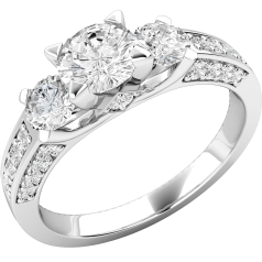 Three Stone Ring with Shoulders/Engagement Ring for women in platinum with three round brilliant cut centre diamonds and round brilliant cut diamond shoulders