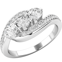 Three Stone Ring with Shoulders/Multi Stone Engagement Ring for women in platinum with three round brilliant cut diamonds in the centre and round brilliant cut diamond shoulders
