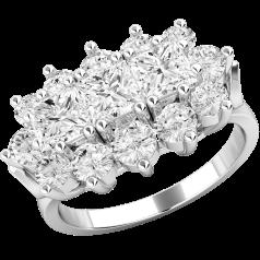 RD410PL - Inel din platină cu 3 diamante princess şi diamante tăietura rotund brilliant