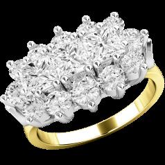 Inel Cocktail/Inel de Logodna cu Diamante Dama Aur Galben si Aur Alb 18kt cu 3 Diamante Princess si Diamante Rotund Briliant
