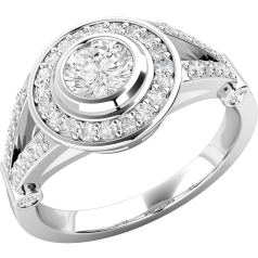 Solitär Verlobungsring mit Schultern/Verlobungsring im Cluster Stil für Dame in Platin mit einem runden Brillant Schlidd Diamanten in Zargenfassung und kleineren runden Brillanten