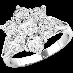 Inel Cocktail Dama Platina cu Diamante Rotund Briliant formand o floare si Diamante pe margini
