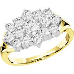 Dress Cocktail Ring/Cluster Engagement Ring for Women in 18ct yellow and white gold with round brilliant cut diamonds