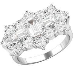 Dress Cocktail Ring/Diamond Cluster Engagement Ring for Women in 18ct white gold with baguette and round brilliant cut diamonds