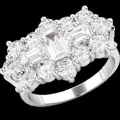 RD415W - 18kt Weissgold Cluster Ring mit Baguette und runden Brillant Schliff Diamanten