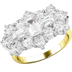 RD415YW - 18ct yellow and white gold cluster ring with baguette and round brilliant cut diamonds