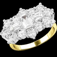 RD415YW - 18kt Gelb- und Weissgold Cluster Ring mit Baguette und runden Brillant Schliff Diamanten