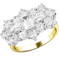 Dress Cocktail Ring/Diamond Cluster Engagement Ring for Women in 18ct yellow and white gold with baguette and round brilliant cut diamonds on Offer