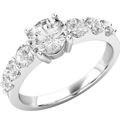 Single Stone Engagement Ring With Shoulders/Multi Stone Engagement Ring for Women in 18ct White Gold with Seven Round Brilliant Cut Diamonds