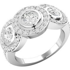 RD419W - 18kt Weissgold Cluster Ring mit runden Brillanten
