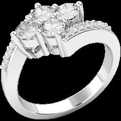 Cocktail Ring mit Diamanten/Verlobungsring im Cluster Stil für Dame in 18kt Weißgold mit runden Brillanten, Twist Stil