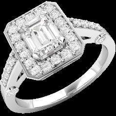 Cocktail Ring mit Diamanten/Verlobungsring im Cluster Stil für Dame in 18kt Weißgold mit einem Smaragd Schliff Diamanten in der Mitte und runden Brillanten