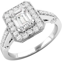 Inel Cocktail/Inel de Logodna cu Diamante Dama Aur Alb 18kt cu Diamant Central Forma Smarald si Diamante Rotunde Briliant