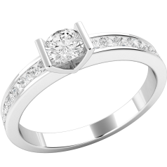 Single Stone Engagement Ring With Shoulders for Women in 18ct White Gold with a Round Brilliant Cut Centre Diamond and Round Brilliant Cut Shoulders