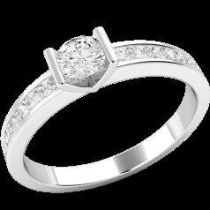 Solitär Verlobungsring mit Schultern für Dame in 18kt Weißgold mit einem runden Brillanten in Balkenfassung und Brillanten auf den Schultern