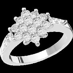 Inel de logodna cu Diamante Dama Aur Alb 18kt cu Diamante Rotund Briliant