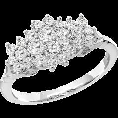 Cocktail Ring mit Diamanten/Verlobungsring im Cluster Stil für Dame in Platin mit runden Brillanten